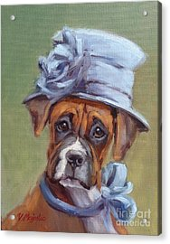 Lady Boxer With Blue Hat Acrylic Print