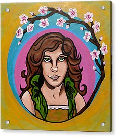 Acrylic Print featuring the painting Lady Cherry Blossom by Sarah Crumpler