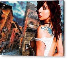 Lady Gaga And Street Blue Sky Acrylic Print by Tony Rubino