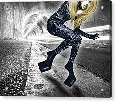 Lady Gaga In City Tunnel Acrylic Print by Tony Rubino