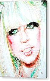 Lady Gaga - Watercolor Portrait Acrylic Print by Fabrizio Cassetta