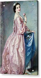Lady Holding Flowers In Her Petticoat Acrylic Print by Augustus Jules Bouvier