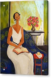Lady In Blue Chair Acrylic Print by Becky Kim