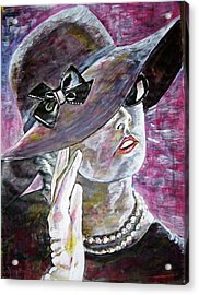 Lady In Gloves Acrylic Print by Linda Vaughon