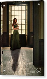 Lady In Green Gown By Window Acrylic Print by Jill Battaglia