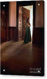 Lady In Green Gown In Doorway Acrylic Print by Jill Battaglia