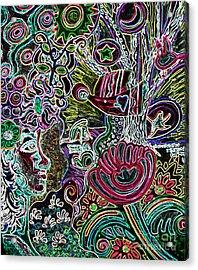 Lady In Neon Landscape Acrylic Print