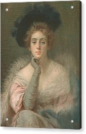 Lady In Pink Acrylic Print by Joseph W Gies