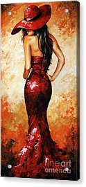 Lady In Red 035 Acrylic Print by Emerico Imre Toth