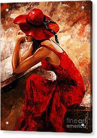 Lady In Red 21 Acrylic Print by Emerico Imre Toth