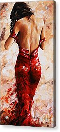 Lady In Red #24 Large  Acrylic Print by Emerico Imre Toth