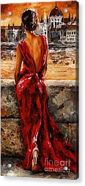 Lady In Red  34 -  I Love Budapest Acrylic Print by Emerico Imre Toth
