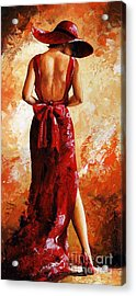 Lady In Red  39 Acrylic Print by Emerico Imre Toth