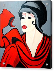 Lady In Red  Art Deco Acrylic Print