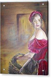 Lady In Red Acrylic Print by Joyce Reid