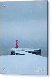 Lady In Red On Snowy Pier Acrylic Print by Jill Battaglia