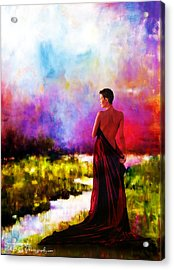 Lady In Red Acrylic Print by Rick Buggy