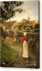 Lady In Regency Dress Walking Acrylic Print