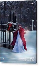 Lady In Snow With Lantern Acrylic Print by Jill Battaglia