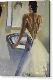 Acrylic Print featuring the painting Lady In The Mirror by Pamela  Meredith