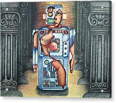 Lady In The Robot Acrylic Print by Larry Butterworth