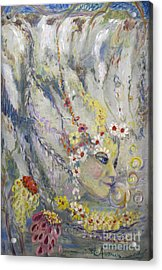 Acrylic Print featuring the painting Lady In The Waterfall by Avonelle Kelsey