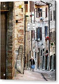 Lady In Urbino Acrylic Print by Jennie Breeze