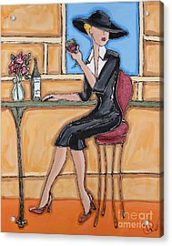 Lady In Waiting With Wine Acrylic Print