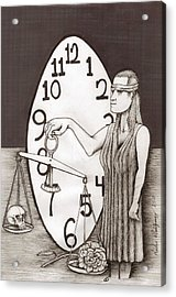 Lady Justice And The Handless Clock Acrylic Print