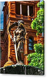 Lady Justice Fountain Acrylic Print by Greg Sharpe