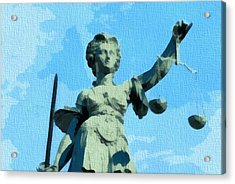 Lady Justice Pop Art Acrylic Print by Dan Sproul