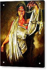 Lady Justice Sepia Acrylic Print