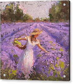 Woman Picking Lavender In A Field In A White Dress - Lady Lavender - Plein Air Painting Acrylic Print