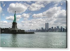 Lady Liberty And New York Twin Towers Acrylic Print