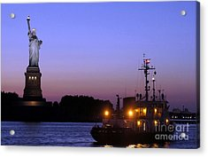 Acrylic Print featuring the photograph Lady Liberty At Dusk by Lilliana Mendez