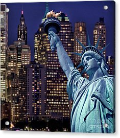 Lady Liberty By Night Acrylic Print by Delphimages Photo Creations
