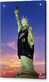 Lady Liberty Dressed Up For The Nba All Star Game Acrylic Print