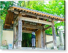 Lady Looking Up At The Impressive Woodwork Of A Japanese Temple Gate Acrylic Print