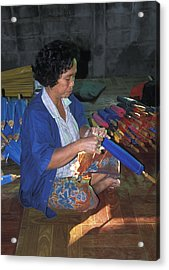 Lady Makes Umbrellas At A Factory Near Chaing Mai Acrylic Print by Richard Berry