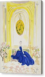Lady Mendl Wearing A Blue Dress Acrylic Print by Cecil Beaton
