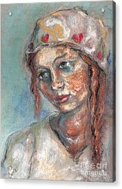 Lady Of Hearts Acrylic Print by Carrie Joy Byrnes