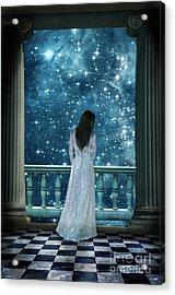 Lady On Balcony At Night Acrylic Print