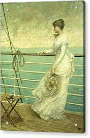 Lady On The Deck Of A Ship  Acrylic Print by French School