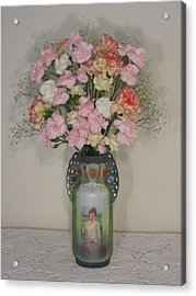 Lady On Vase With Pink Flowers Acrylic Print by Good Taste Art