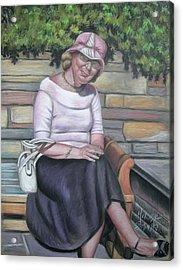 Lady Sitting On A Bench With Pink Hat Acrylic Print by Melinda Saminski
