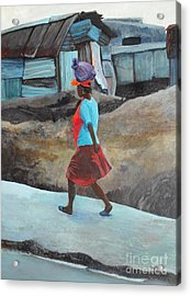 Lady Walking - Port -au- Prince Acrylic Print