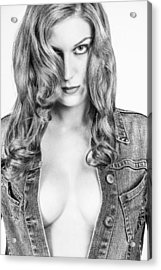 Lady With A Jeans Jacket Acrylic Print by Ralf Kaiser