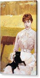 Lady With Black Kitten Acrylic Print by Giuseppe De Nittis