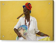 Lady With Fan And Cigar, Old Havana Acrylic Print
