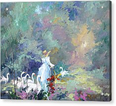Lady With Geese Acrylic Print by Steven Nevada